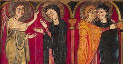 Scene dell'annunciazione e della visitazione, particolare del fronte d'altare della Chiesa di santa Maria di Avià, 1200 circa, tempera su tavola.