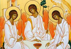 The icons of Bose, Trinity - Byzantine Russian style - egg tempera on wood